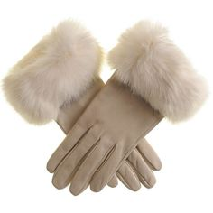 Black Cream Leather Gloves with Rabbit Fur Cuff (410 BRL) ❤ liked on Polyvore featuring accessories, gloves, rabbit fur gloves, black gloves, leather gloves, rabbit fur leather gloves and cream gloves