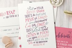 Fun, pink and purple casual 'handwritten' wedding invitations from minted.com // Offbeat Bride