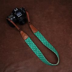 Cowboy DSLR Strap Green Dot lovely strap Handmade Leather Camera Strap Brown 7179