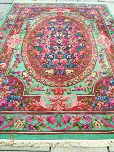 RARE~1920's DESIGNER FLORAL RIBBONS & ROSES FRENCH STYLE AUBUSSON RUG/CARPET