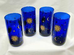 Set of 4 Libby Celestial Cobalt Blue Tall Drinking Glasses Sun Moon Stars #Libby