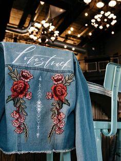 "Bash Creative Design's DIY Denim Jacket Kit ""Lovestruck"" is perfect for the spring bride and available for pre-order Sophia Tolli, Rosé Hair, The Bride, Bride Groom, Keds, Wedding Dress Trends, Dress Wedding, Wedding Jacket, Painted Clothes"