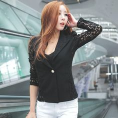 Lace Blazers 2018 new arrive sexy Korean style notched full sleeve one button patchwork solid women suit Office ladies coat 4147