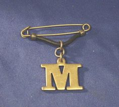 Antique Not Sure Gold Metal Hanging Letter M Badge Brooch / Pin & No Stone