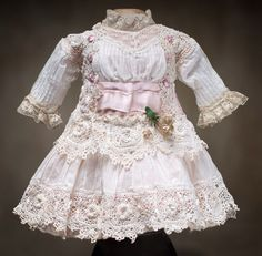 "Antique French White Muslin dress for Jumeau bru Steiner bebe doll about 13"" (33 cm)"
