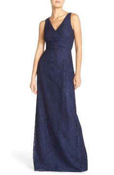 Donna Morgan 'Lark' Surplice Bodice Lace Column Gown