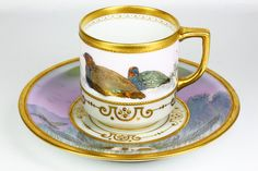 Dresden A. Lamm Bird and Dog Cup and Saucer