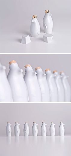modern white  porcelain >> salt and pepper penguins by holaria via Humble Abode | Miss Moss