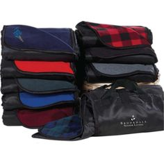 """Revel in style while outdoors with our fold-up, full sized picnic blanket. Made with an anti-pill finish, this blanket is made for outdoor use - one side is made from soft & comfortable fleece, while the other side features a waterproof polyester shell. Also includes a weight of 260 gsm and measures 50"""" W x 60"""" L. Available in several colors / checkered patterns and can be customized with embroidery of your brand name and logo."""