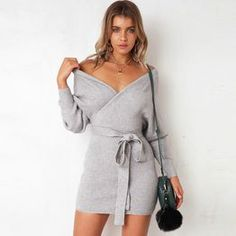Long Sleeve V Neck Knitted Dress Women Casual Sash Autumn Winter Sweater  Dress Ladies Sexy Elegant Wrap Pullover Dress d0cdbfd10