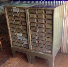 Vintage industrial card catalog cabinet. $350/each