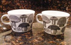 Set of 2 Arabia Final Finland Kaj Franck Mushroom Cups Mugs Mid Century Modern