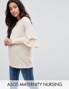 #ASOS - #ASOS Maternity - Nursing ASOS Maternity NURSING Ruffle Sleeve Sweater - Beige - AdoreWe.com