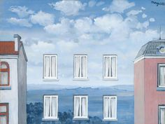 "René Magritte, l'état de Veille. The windows of the ""missing"" house form a regular rhyme, we can see the clear raster. Due to our experience, and this rhyme, it is easy for our eyes to imagine the missing object."