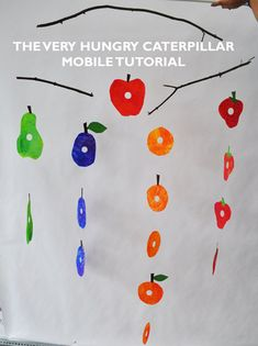 How to Make a Very Hungry Caterpillar Tissue Paper Mobile/ The Eric Carle Museum Art Studio Blog