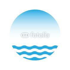 Wektor: Blue water and sky, vector logo