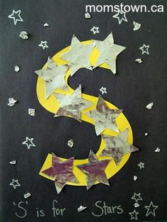 Little kids: Alphabet Craft: S is for Star Letter S Activities, Preschool Letter Crafts, Alphabet Letter Crafts, Abc Crafts, Classroom Crafts, Letter Art, Preschool Activities, Letter Tracing, Space Activities