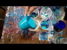 Acrylic Pour - 4 Cups with Peacock Colors - YouTube