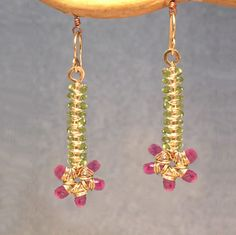Luxe Bijoux 220 Hammered flowers with peridot by CalicoJunoJewelry