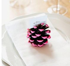 Painted Pine Cones from Make-Your-Own Holiday Place Cards Slideshow Holiday Crafts For Kids, Thanksgiving Crafts, Diy And Crafts, Thanksgiving Table, Diy Place Settings, 242, Ideias Diy, Love Craft, Diy Weihnachten