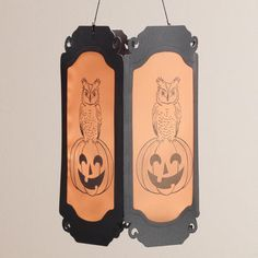 Owl on Jack-o-Lantern Hanging Luminary