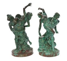 A Pair of Grand Tour Verdigris Bronze Figural Groups, LATE 19TH CENTURY, Height of taller 21 1/2 inches. - Price Estimate: $4000 - $6000