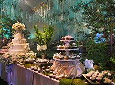 Twilight wedding dessert table