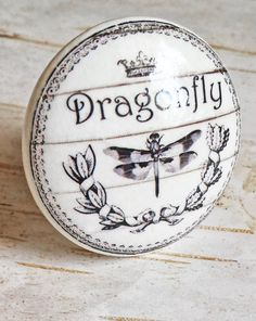 ON SALE Dragonfly Knobs Drawer Pulls Classic Black and White
