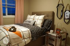 Orange and Neutral Guest Room in Mountain Retreat Skagen 2 Show Home for Hopewell Residential.By Wise Home + Design