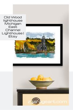Old Wood lighthouse Michigan, East Channel Lighthouse, Pictured rock National park, Grand Island Light, Michigan travel gifts Picture Rocks, Grand Island, Michigan Travel, Garage Art, Foil Art, Kids Room Wall Art, Automotive Art, Modern Art Prints, Typography Prints