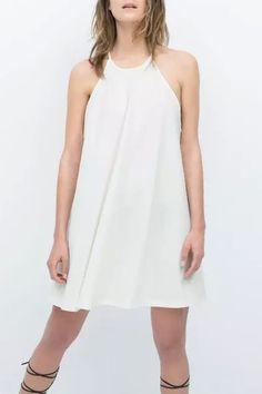 white halter neck shift dress | USTrendy www.ustrendy.com #ustrendy