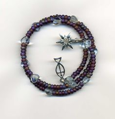 Memory Wire Bracelet Matte Purple Seed Beads, Blue Heart Beads, Charms…