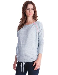 100% cotton knit   Soft blue marl   Contrast pink zipper nursing access   Drawstring bottom   Relaxed fit    Finely knit in 100% cotton, our soft Blue Marl Maternity & Nursing Sweater offers the ultimate in easy everyday style. The relaxed over-size fit ensures plenty of room for your growing curves, while drawstring ties pull the style in under the bump, defining your new shape. Perfect before, during and after pregnancy, contrast neon pink zippers at the shoulders open up for…