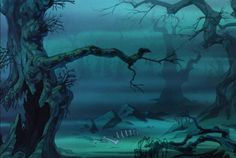 Animation Backgrounds: THE SWORD IN THE STONE: The Wizards Duel Cartoon Background, Animation Background, Environment Concept Art, Environment Design, Spooky Trees, Sword In The Stone, Walt Disney Animation Studios, Forest Illustration, Matte Painting