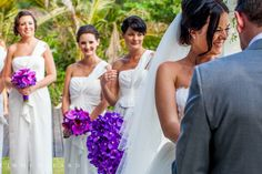 pink & purple bouquets of phalaenopsis and vanda orchids. i love the bridesmaids bouquets White Bridesmaid Dresses, Bridesmaid Bouquet, Wedding Bouquets, Bridesmaids, Wedding Dresses, Blue Purple Wedding, Pink Purple, Phuket Wedding, Destination Wedding