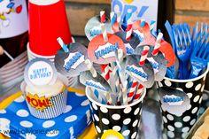 Superhero birthday party paper straws