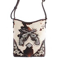 This item sell at HandbagLoverUSA.com $28.99  New Arrival Western Handbag Two Gun Cross Detailed Rhinestone Gemstone Round Rivet Studded Unique Animal Print Messanger Bag / Crossbody Handbag Purse with Adjustable Strap in Coffee Brown