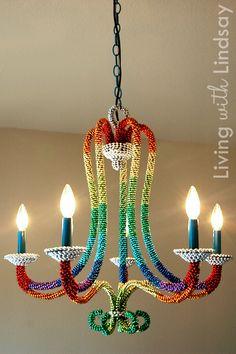 Rainbow beaded chandelier