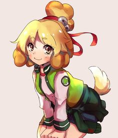 """""""Ok so I had a really big urge to draw Isabelle as Gijinka in cool clothes. Animal Crossing Fan Art, Animal Crossing Villagers, Animal Crossing Memes, Animal Games, My Animal, Kawaii Cosplay, Manga Artist, Like Animals, Illustrations And Posters"""