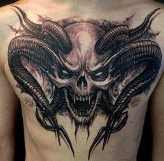 40 Interesting Skull Tattoo Designs For You - skull art - Tatoo Ideen Scary Tattoos, Badass Tattoos, Skull Tattoos, Rose Tattoos, Body Art Tattoos, Tattoos For Guys, Spine Tattoos, Chest Tattoo, Sleeve Tattoos