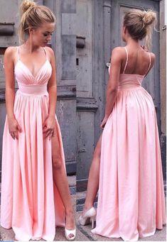 Simple Spaghetti Straps Pink V Neck Long Prom #prom #promdress #dress #eveningdress #evening #fashion #love #shopping #art #dress #women #mermaid #SEXY #SexyGirl #PromDresses