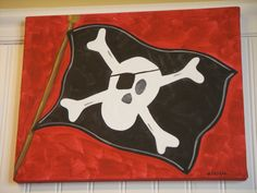 "boy room decor..baby nursery wall art..original canvas painting..painted artwork..11 x 14 red black pirate jolly roger ""ahoy there matey"". $36.00, via Etsy."