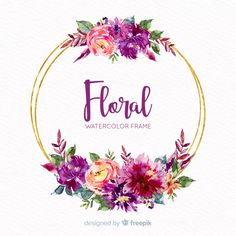 More than 3 millions free vectors, PSD, photos and free icons. Exclusive freebies and all graphic resources that you need for your projects Watercolor Projects, Wreath Watercolor, Watercolor Flowers, Floral Frames, Initial Wall Art, Floral Printables, Flower Logo, Wedding Table Flowers, Wedding Art