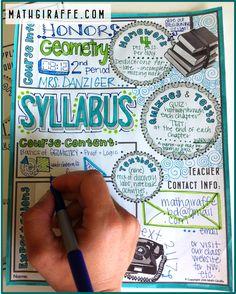 Syllabus for Math Class (Doodle - Style!): Free Printable (Math Giraffe - The… Middle School Syllabus, Maths Syllabus, Syllabus Ideas, High School Classroom, Science Classroom, Classroom Ideas, Math Teacher, Teaching Math, College Teaching