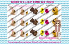 1' Bottle caps (4x6) Digital cute animals K115   PLEASE VISIT http://craftinheavenboutique.com/AND USE COUPON CODE thankyou25 FOR 25% OFF YOUR FIRST ORDER OVER $10! #bottlecap #BCI #shrinkydinkimages #bowcenters #hairbows #bowmaking #ironon #printables #printyourself #digitaltransfer #doityourself #transfer #ribbongraphics #ribbon #shirtprint #tshirt #digitalart #diy #digital #graphicdesign please purchase via link http://craftinheavenboutique.com