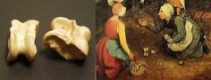 1560 English: Bones from the ankles of hoofed animals such as sheep, were used as playthings in the popular game Knucklebones. Six in total found at Harborough (four small and two large). The game was played usually with five knucklebones, which are thrown up and caught in various ways. Pieter Brueghel the Elder's painting, Children's Games represents the game in action.