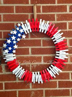 Red, white, and blue clothespin wreath! on Etsy, $23.00