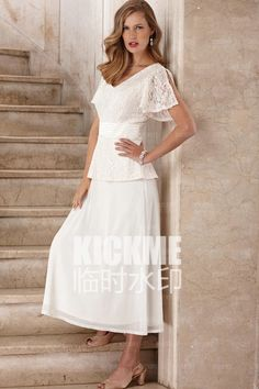 2aeca466641 2016 New Seath Lace Scoop Cap Sleeves ankle Length Mother of the Bride  Dresses of wedding