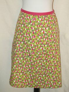 Sz US 8R Boden A Line Skirt Cotton Career Geometric Green Pink White Knee Lined #Boden #ALine SOLD