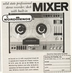 1968 ad for NordMende recording equipment in Reel2ReelTexas.com's vintage recording collection